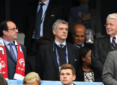 Villar (centre) alongside former French president  Francois Hollande (left) and former Iceland president Olafur Ragnar at Euro 2016.