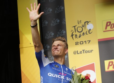 Kittel celebrates today's stage win.