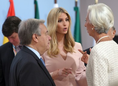 Antonio Guterres, the general secretary of the UN, Ivanka Trump, daughter Donald Trump, Christine Lagarde, managing director of the IMF, and OECD Secretary General Jose Angel Gurria at a G20 event.
