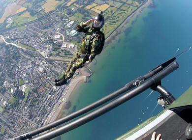 Defence Forces Black Knights Parachute display team in action yesterday.