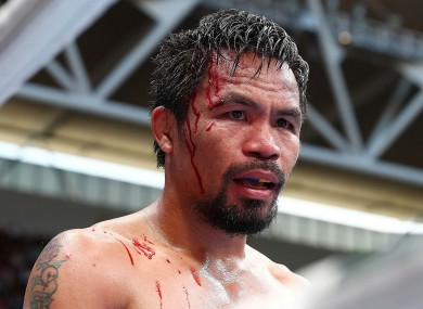 Manny Pacquiao during his shock defeat to Jeff Horn in Brisbane.