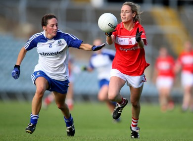 Cork's Orla Finn and Monaghan's Rachel McKenna in opposition last September.