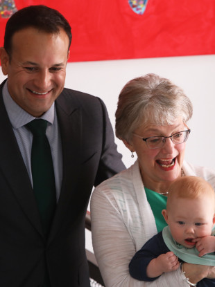 Taoiseach Leo Varadkar and Children's Minister Katherine Zappone with Saidhbhe O'Loughlin at the launch of the next phase of childcare supports starting next month.