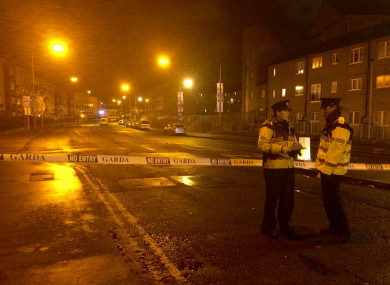 Gardaí at the scene of a gangland shooting last year.