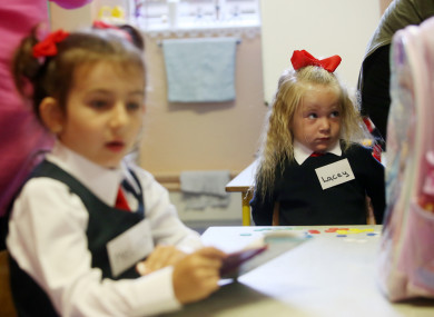 Lacey Weldon, then 4, starting school in Dublin in August 2016