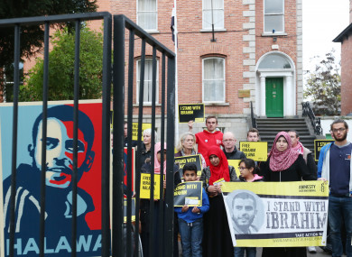 Supporters of Halawa protesting outside the Egyptian embassy in Dublin.