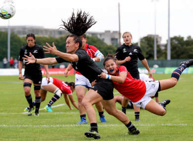 Woodman goes over for one of her eight tries.