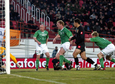 Damien Duff scores a goal for Ireland against Georgia in the infamous 2003 match between the sides.