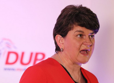 DUP leader Arlene Foster pictured in Belfast tonight