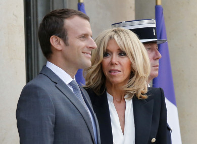 French President Emmanuel Macron, left, and his wife Brigitte.