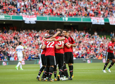 The Man United players celebrate Henrikh Mkhitaryan's goal.