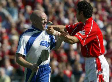 John Mullane before his sending off in 2004.