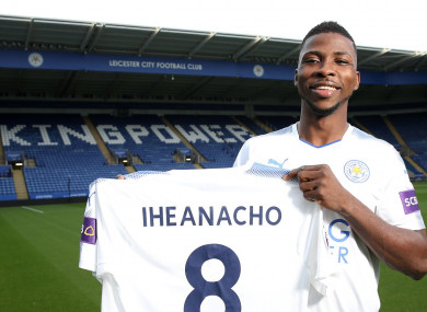 Iheanacho with the Leicester shirt.