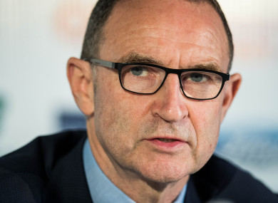 Martin O'Neill pictured at today's press conference.