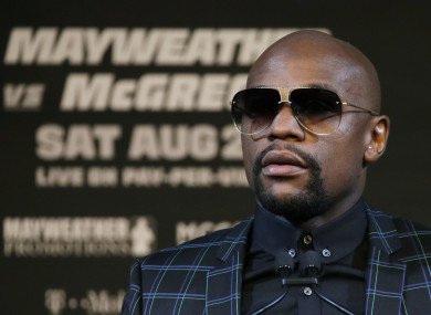 Floyd Mayweather Jr. speaks during a news conference on Wednesday.