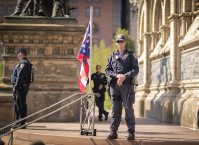 Ohio officers at a protest outside the Republican Convention in Cleveland in July this year.
