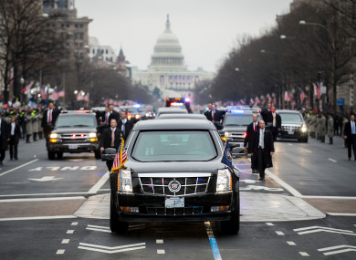 The Secret Service motorcade at Donald Trump's inauguration.