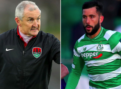 Cork City manager John Caulfield and Shamrock Rovers defender David Webster.