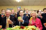Ministers Richard Bruton, Simon Harris and Regina Doherty at City Quay School.