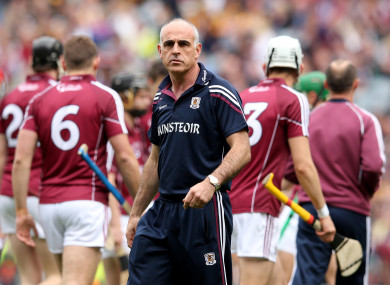 Anthony Cunningham with the Galway players before the 2015 All-Ireland final.