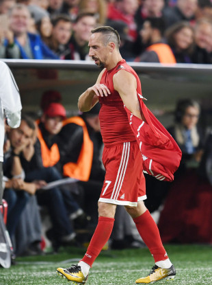 Franck Ribery takes off his shirt after his substitution during the Champions League Group B match between Bayern Muenchen and RSC Anderlecht at the Allianz Arena.