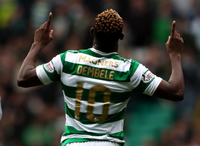 Celtic's Moussa Dembele celebrates scoring his side's second goal of the game.