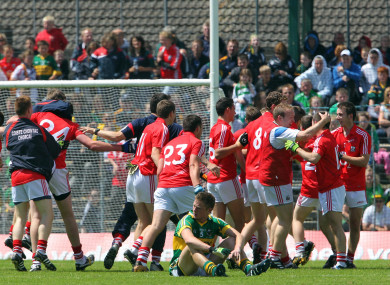 Jamie Wall (right) celebrating Cork's 2010 Munster minor final win with his team-mates.