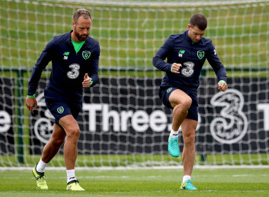 Meyler and Hoolahan training this week.