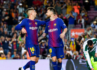 Barcelona duo Gerard Deulofeu and Lionel Messi.