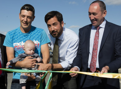 Housing Minister Eoghan Murphy, centre, launching a social housing development in Bagnelstown, Carlow in August. The Government target for new social builds in 2017 is 2,400 units.