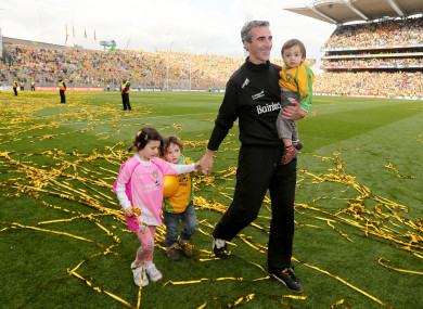 Jim McGuinness celebrates Donegal's 2012 All-Ireland win with his kids.