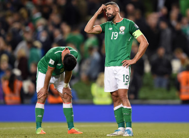 Ireland's Jonathan Walters and Shane Long dejected after the Serbia game last night.