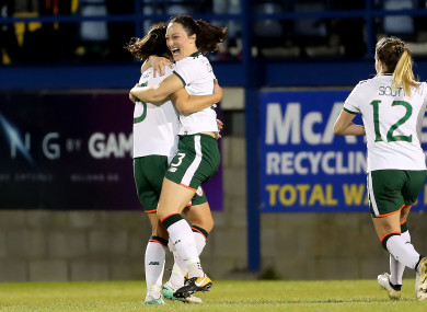 Republic of Ireland's Megan Campbell celebrates scoring her sides second goal.