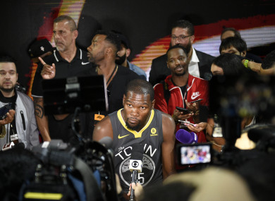 Golden State Warriors forward Kevin Durant interviews during the Nike and Sony press conference at Sony Studios.