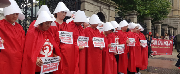 Pro-choice group Rosa outside the Dáil today.