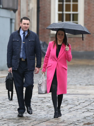 Garda Keith Harrison with his partner Marissa Simms arriving today