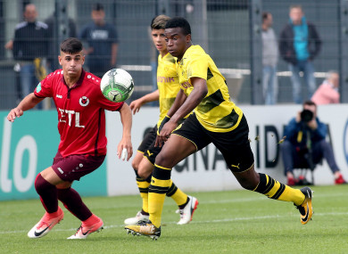 Youssoufa Moukoko (R) from Borussia Dortmund's U17 in action during the 6-1 win over Viktoria Cologne.