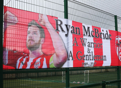 A banner in tribute to late Derry City captain Ryan McBride, who died tragically last March.