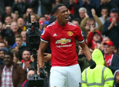 Anthony Martial scored Man United's winner against Tottenham on Saturday.