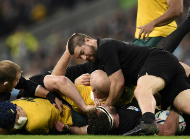 New Zealand hooker Dane Coles battles with opposite number Stephen Moore.
