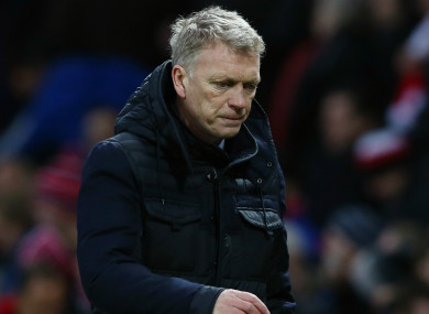 David Moyes during a Sunderland match at Old Trafford