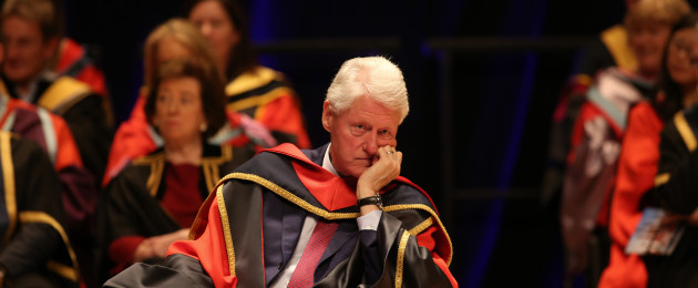 Bill Clinton, pictured at a ceremony conferring him with an honorary doctorate at DCU this afternoon