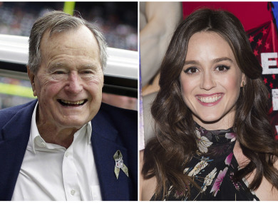 Former president George HW Bush and actress Heather Lind.