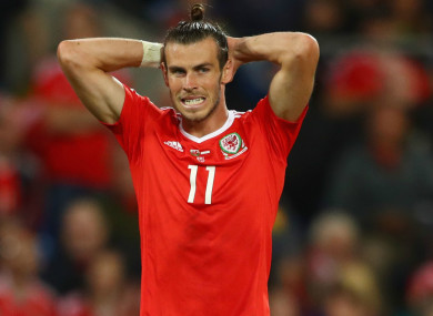 Gareth Bale reacts during a Wales match