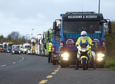 Dozens of trucks participated in the fundraising drive for Colm Eogan yesterday
