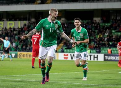 James McClean celebrating his goal against Moldova last year.