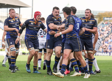 Leinster celebrate a big win at the RDS.