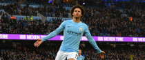 Manchester City's Leroy Sane celebrates scoring his side's third goal of the game.