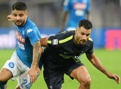 Lorenzo Insigne battles with Antonio Candreva
