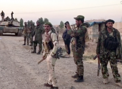 An image from a video showing Iraqi soldiers in the Qatash area south of Kirkuk